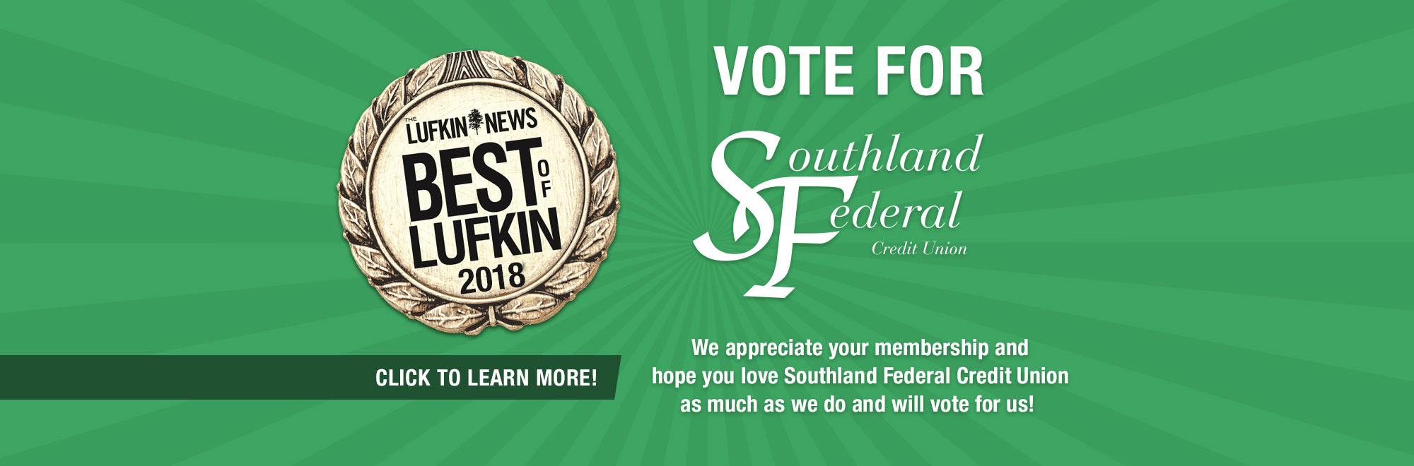 Best of Lufkin 2018 Main Banner. Click to learn more
